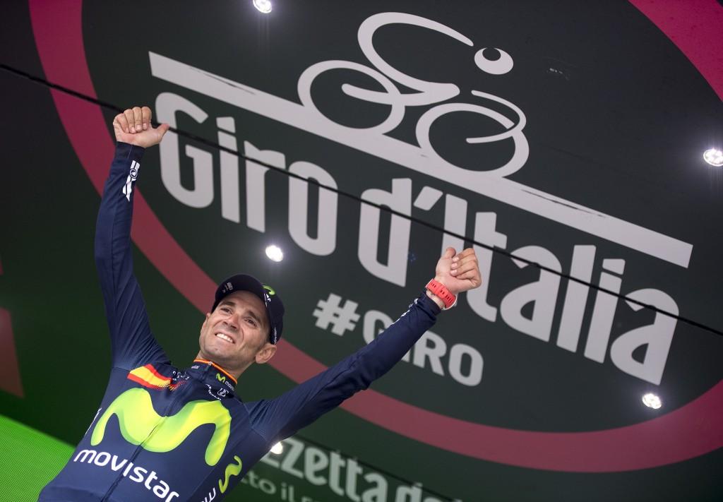 Spanish rider Alejandro Valverde of Movistar Team on the podium of the 16th Stage of Giro d'Italia from Bressanone to Andalo, 24 May 2016. ANSA/CLAUDIO PERI