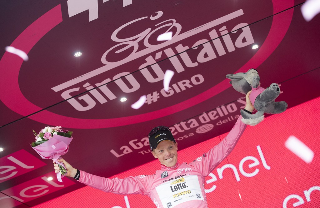 Dutch rider Steven Kruijswijk of Team Lotto Jumbo, on the arrival of the 16th Stage of Giro d'Italia from Bressanone to Andalo, 24 May 2016. ANSA/CLAUDIO PERI
