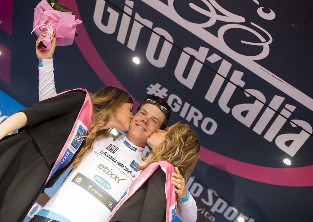 Bob Jungel from Luxemburg of Etixx Quick Step on the podium of the 16th Stage of Giro d'Italia from Bressanone to Andalo, 24 May 2016. ANSA/CLAUDIO PERI