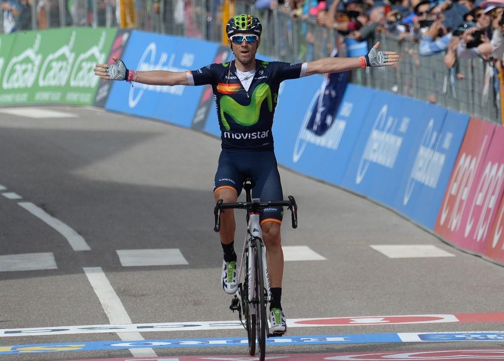 Spanish rider Alejandro Valverde of Moviestar team wins the sixteenth stage of the Giro d'Italia 2016, from Bressanone to Andalo 132 km, Italy, 24 May 2016 ANSA/LUCA ZENNARO