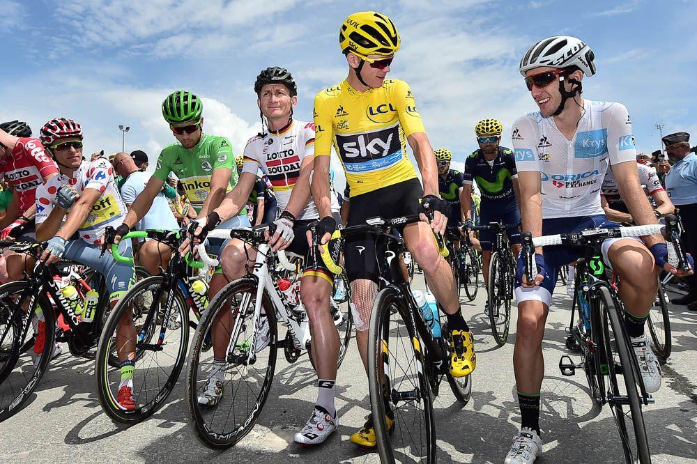 Tour de France 2016 - 23/07/2016 - Etape 20 - Megève / Morzine (146,5 km) - MAJKA Rafal (TINKOFF), SAGAN Peter (TINKOFF), GREIPEL André (LOTTO-SOUDAL), FROOME Christopher (TEAM SKY), et YATES Adam (ORICA-BikeExchange) Στην εκκίνηση του προτελευταίου ετάπ του φετινού Γύρου.