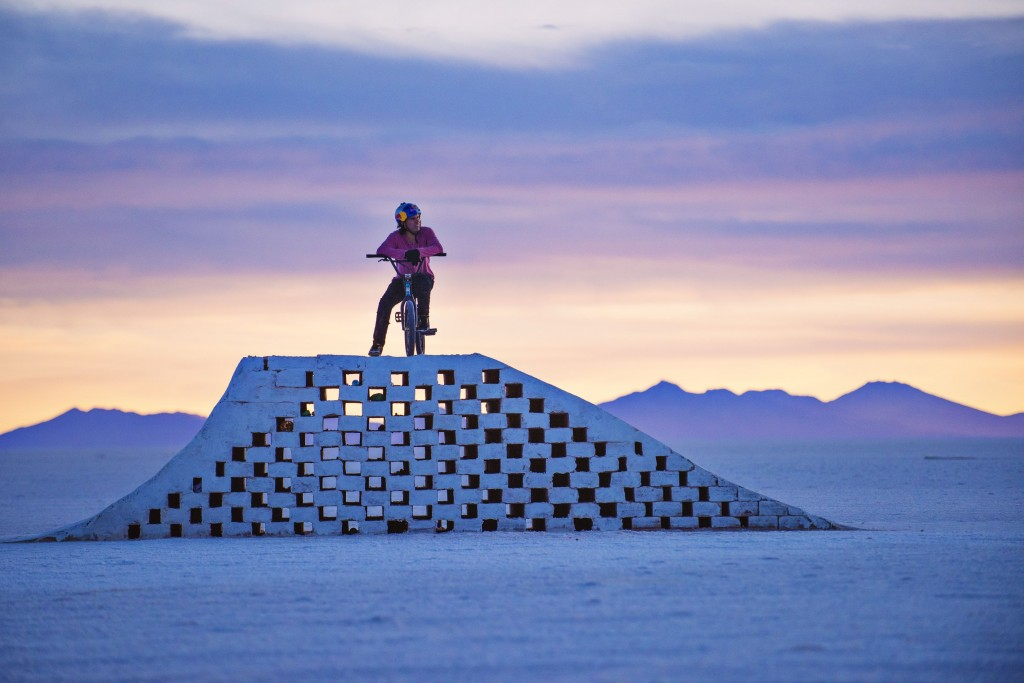 Daniel Dhers in the middle of his BMX Salt Park Project in Uyuni, Bolivia between April 8th and 11th 2016