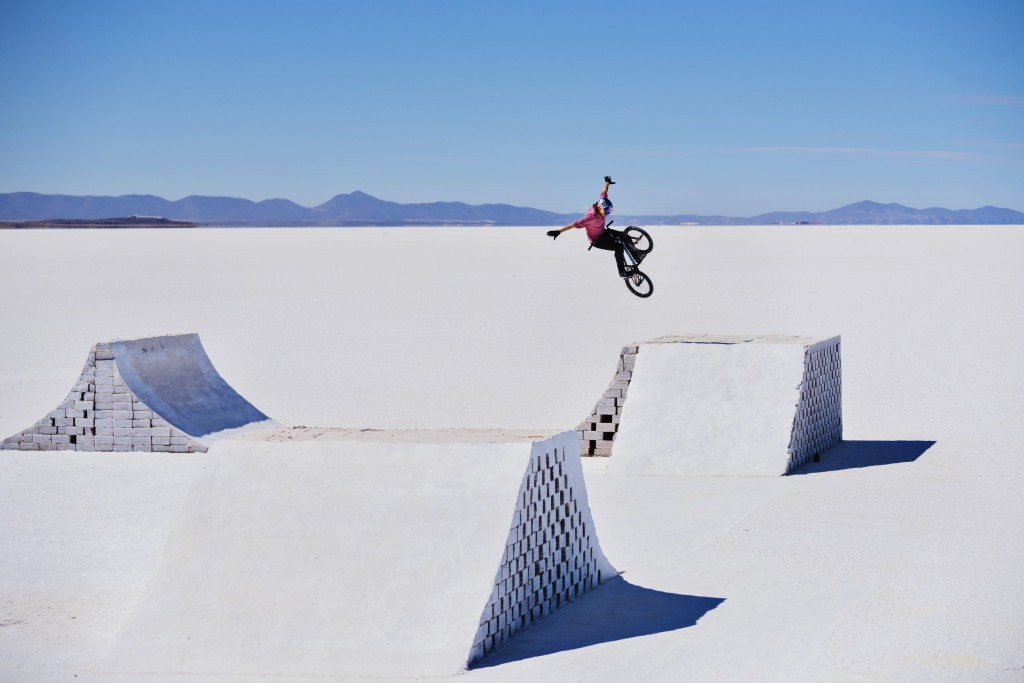 Daniel Dhers rides and flies around his BMX Salt Park Project in Uyuni, Bolivia between April 8th and 11 th 2016